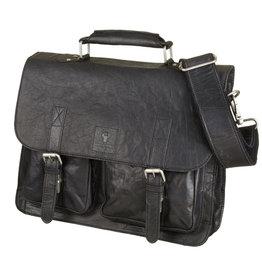 Bull & Hunt Ruime Leren Werktas Messenger Bag Vintage Zwart