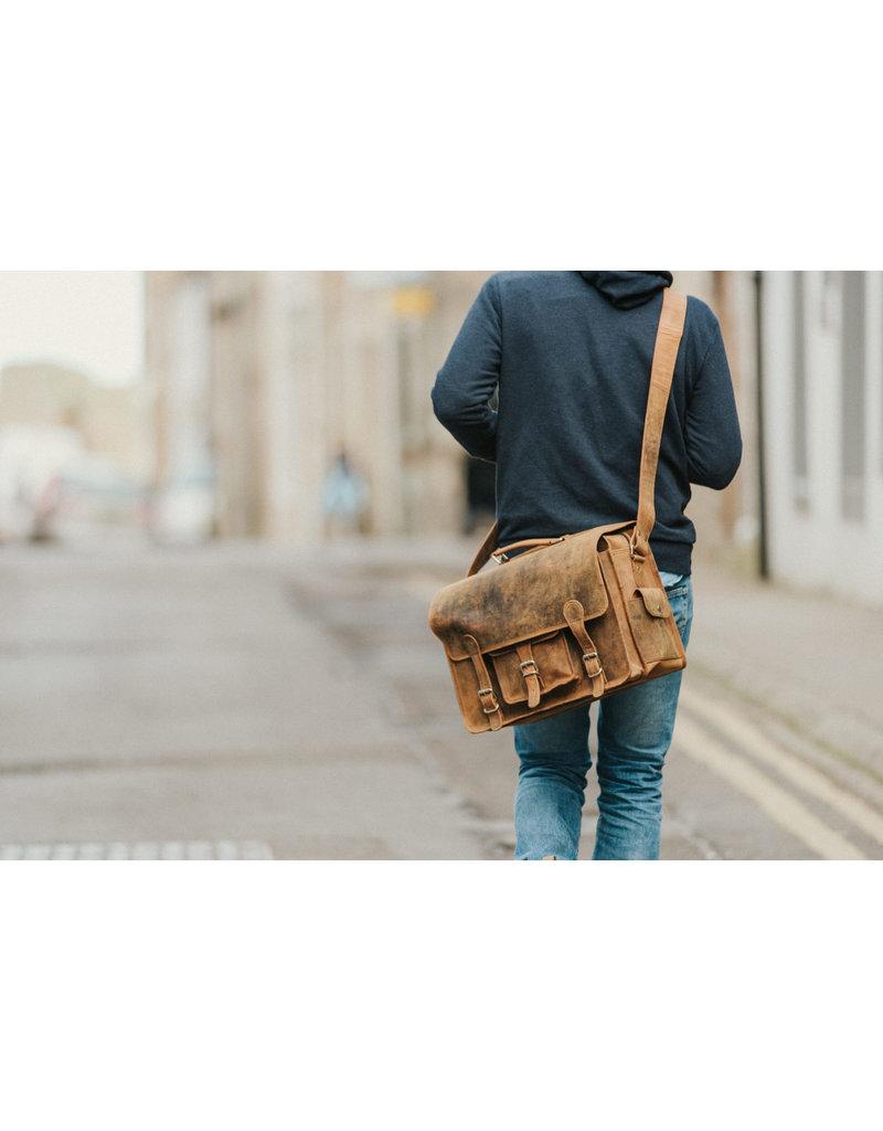 Scaramanga Medium Leder Herrentasche Retro Schultasche Büffelleder