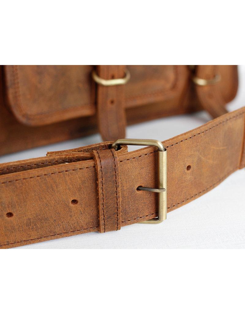 Scaramanga Medium Leder Damentasche Retro Schultasche Büffelleder