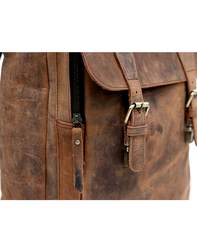 Scaramanga Großer Damen Büffel Lederner Rucksack Vintage