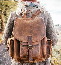 Scaramanga Großer Damen Büffel Lederner Rucksack Retro Vintage