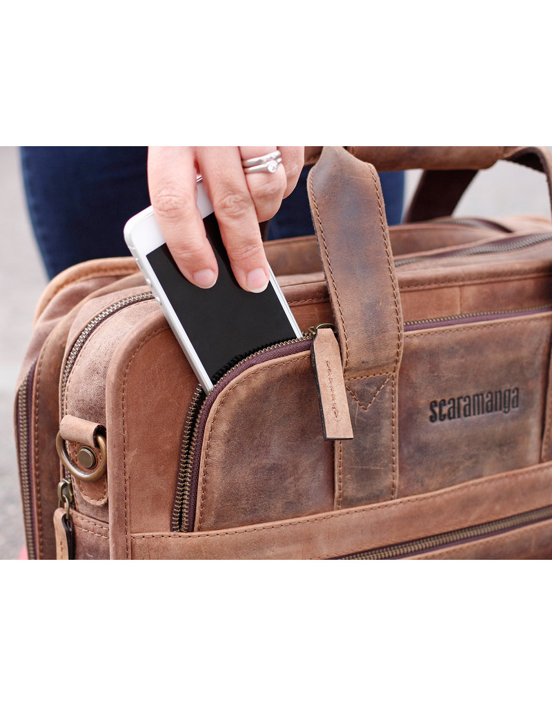 Scaramanga Geräumige Damen Büffelleder Laptoptasche