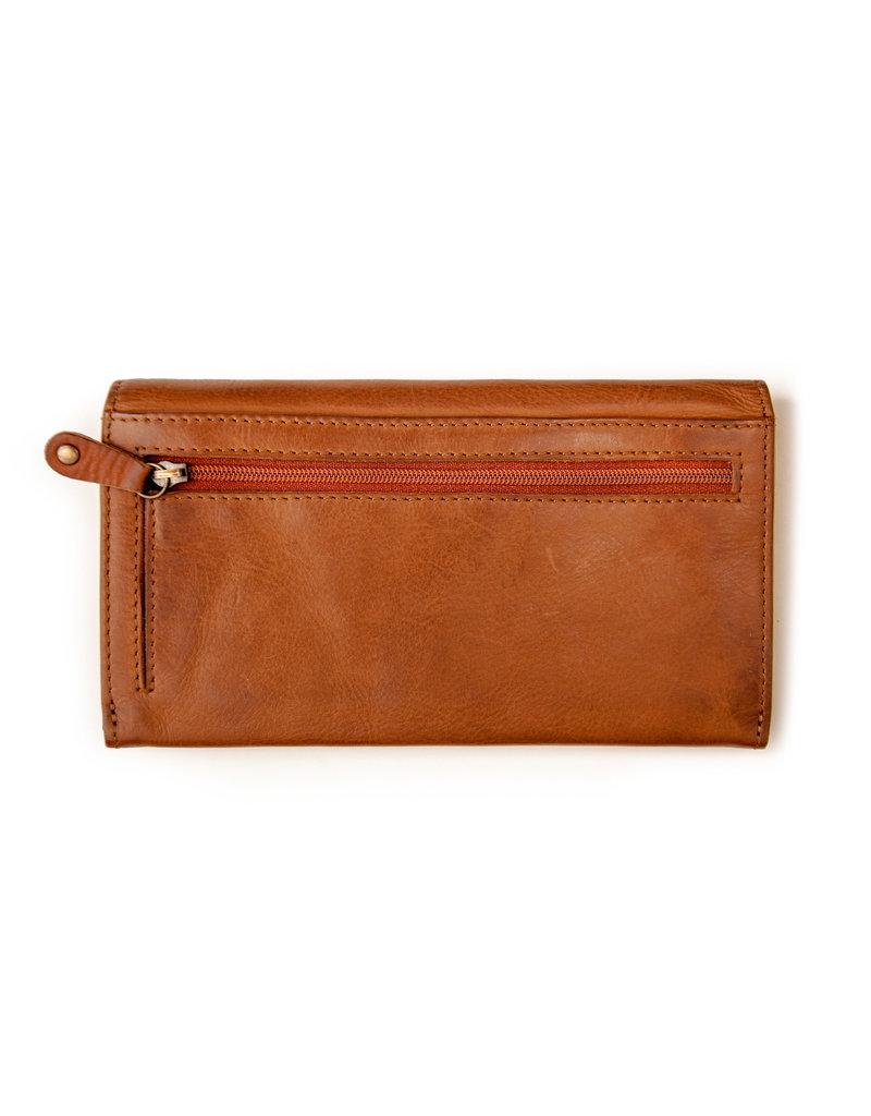 Harold's Leder Damen Geldbörse Überschlag Braun