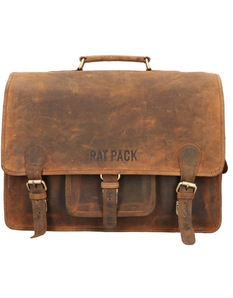 The Rat Pack Large  Leren Fietstas Retro Schooltas