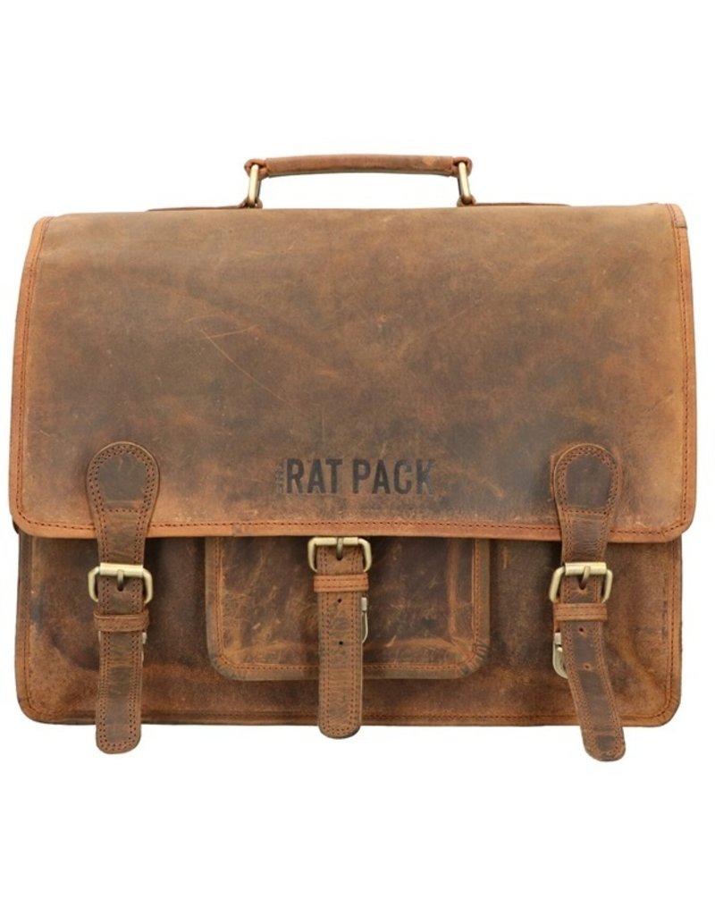 The Rat Pack Medium Leder Fahrradtasche Retro Schultasche