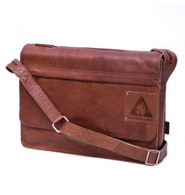 Orange Fire Leren Fietstas Schoudertas Laptoptas 15 Inch Cognac