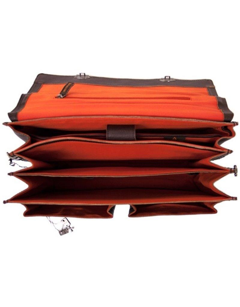 Orange Fire Leder Fahrradtasche Arbeitstasche Cognac 15,6 Inch