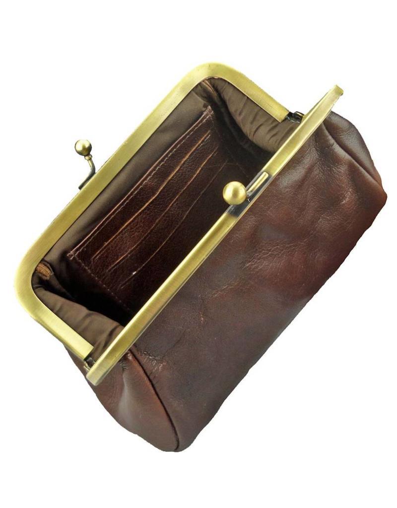 Lederwaren Daniëlle Damen Geldbörse mit Bügel Retro Vintage Braun