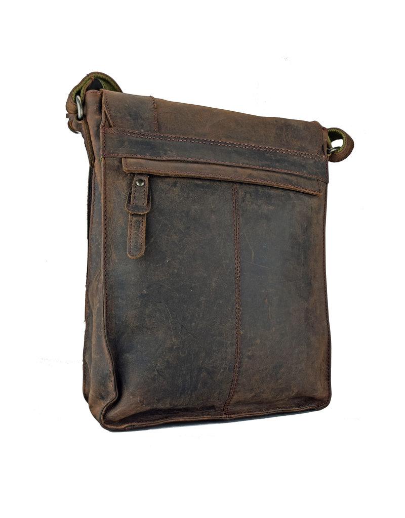 Greenburry Ruime Leren Schoudertas Postmanbag