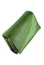 Gewaschen Leder Damen Geldbörse Viel Kreditkarten Lime Grün