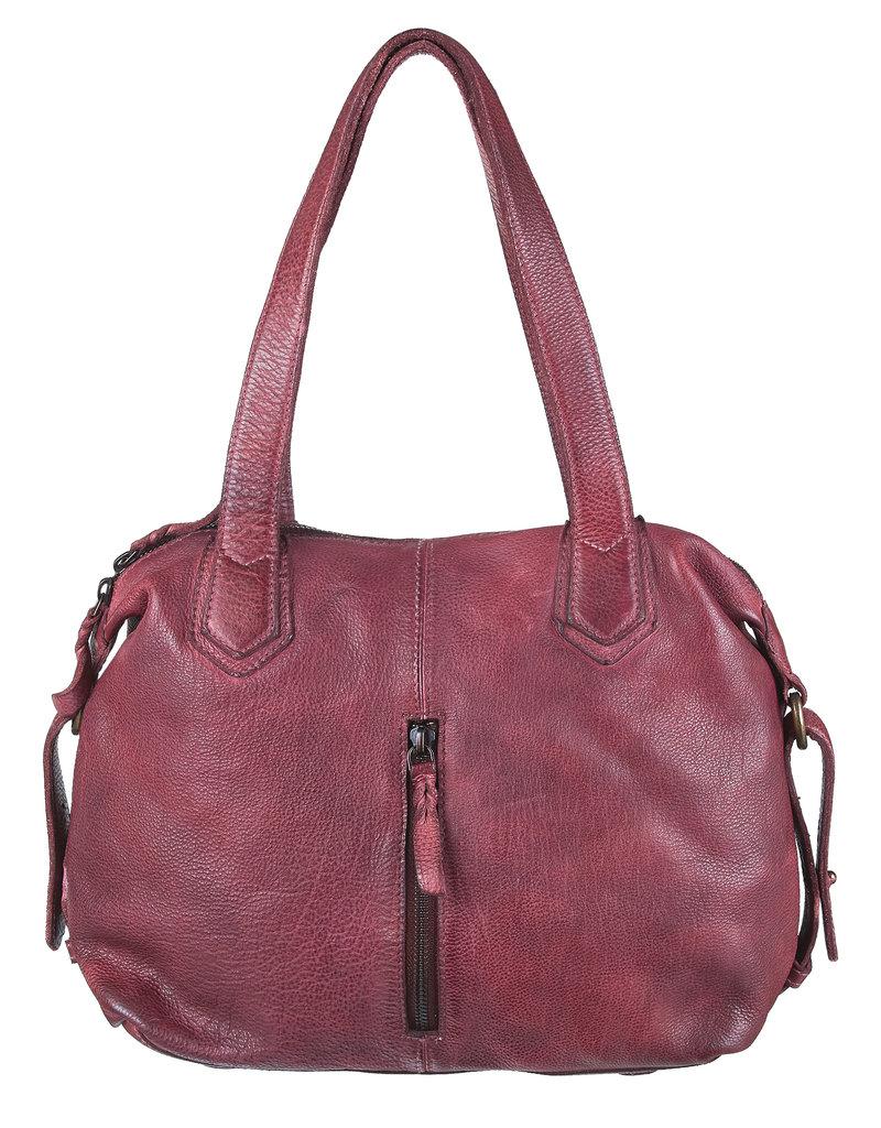 Bull & Hunt Washed Leder Handtasche  Umhängetasche Burgundy