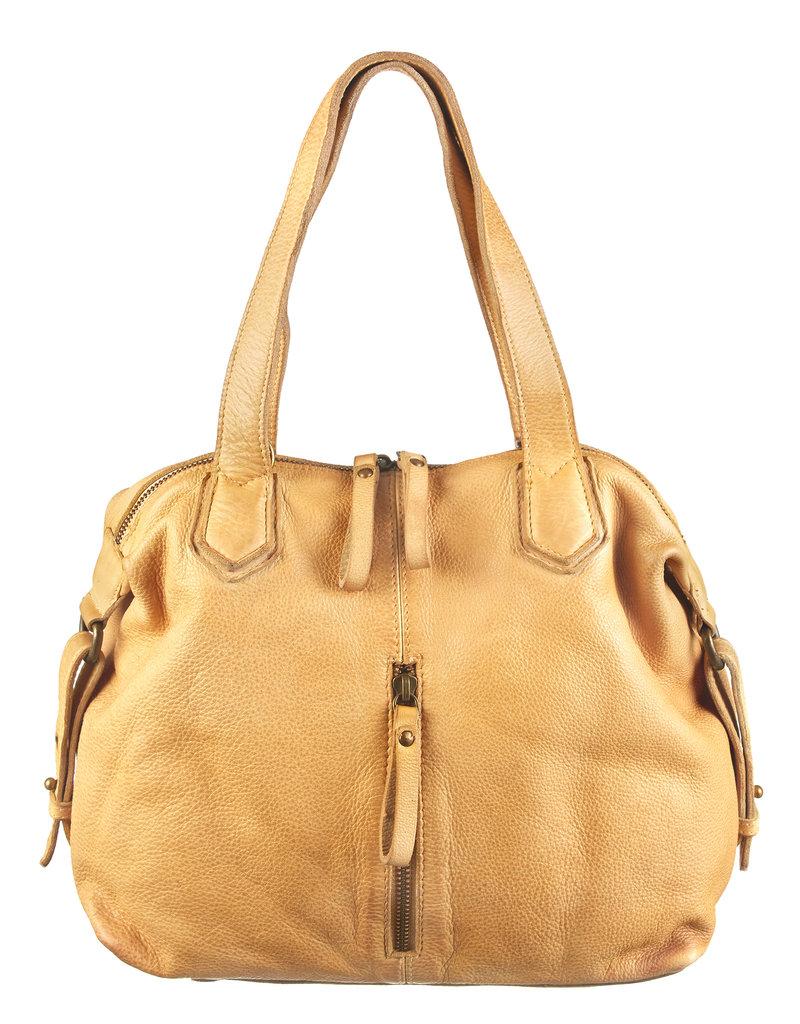 Bull & Hunt Washed Leder Handtasche  Umhängetasche Gelb