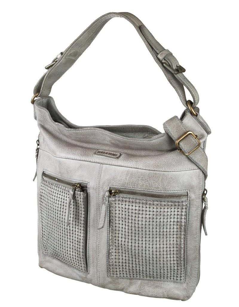 Bull & Hunt Geflochtenes Weiches Leder Umhängetasche Shopper Vintage Grau