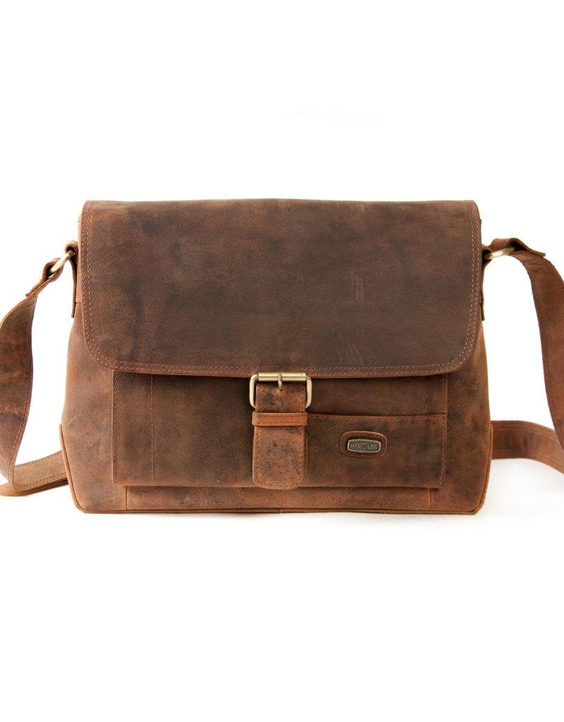 Harold's Leder Schultertasche Messenger Bag mit Schnalle Small