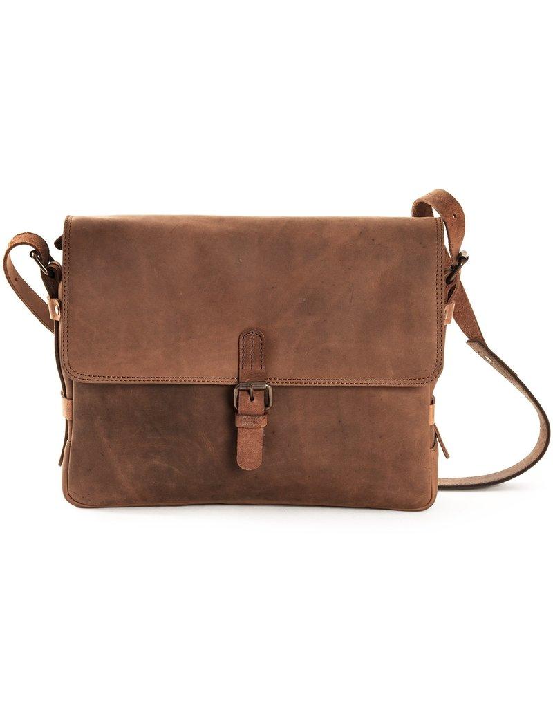 Harold's Leren Schoudertas Messenger Bag met Gesp Medium