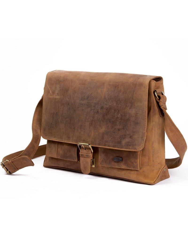Harold's Leder Schultertasche Messenger Bag mit Schnalle Large