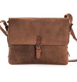 Harold's Leder Schultertasche Messenger Bag mit Schnalle Medium