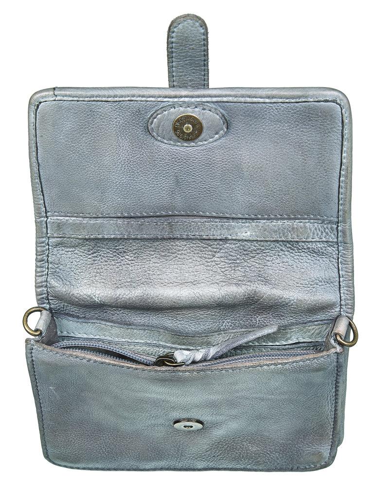 Bull & Hunt Leder Umhängetasche für Handy Grau