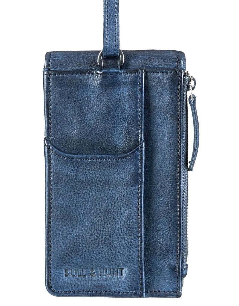 Bull & Hunt Leder Tasche für Handy Festivaltasche Blau