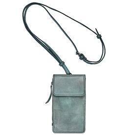 Bull & Hunt Leder Tasche für Handy Festivaltasche Steel Blau