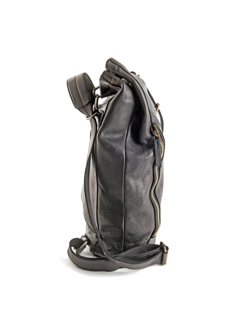 Harold's Leder Rucksack  Umhängetasche Rollover Black Small