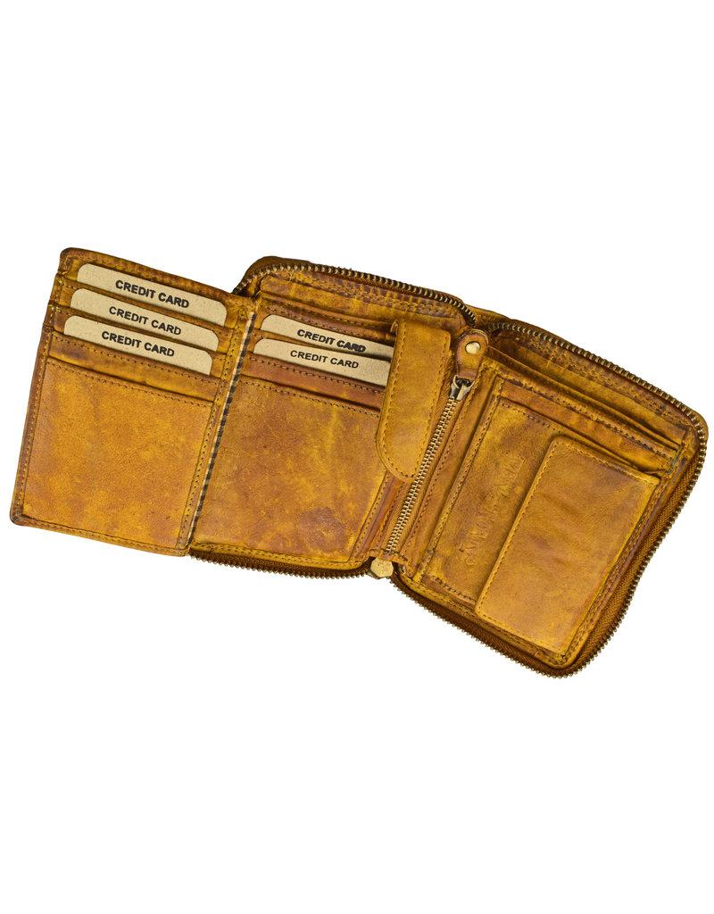 Washed Leather Geldbörse  Ockergelb