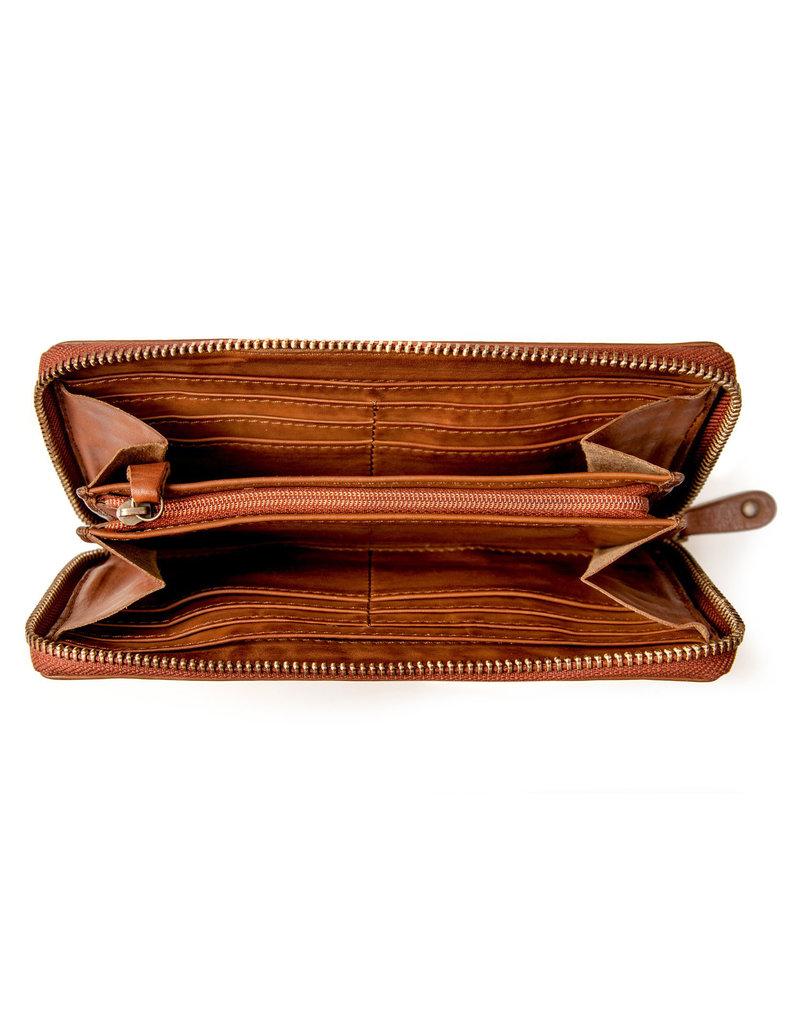 Harold's Leder Damen Geldbörse Reißverschluss Rundum Schwarz