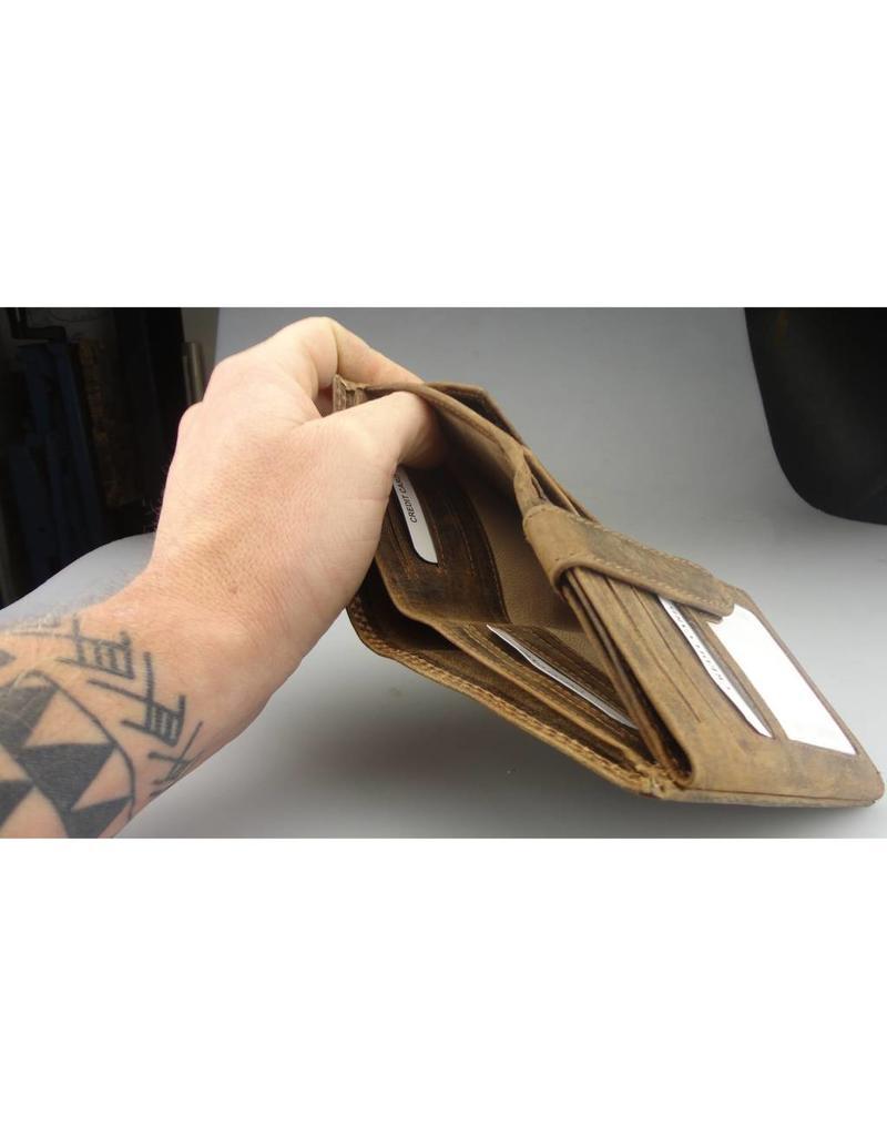 Portemonnaie Mit Kette Viele Kreditkarten Leder Gefüttert Hochformat