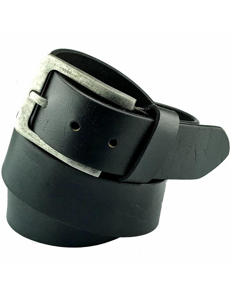 Schwarze Leder Jeans Gürtel