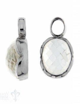 Anhänger für Creolen Bergkristall oval facett. Silberfassung Blumenblatt 13x16 mm