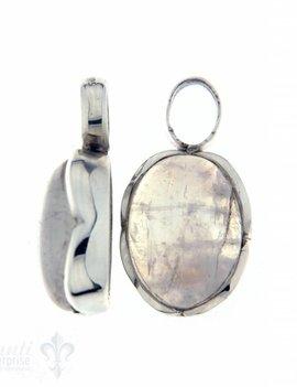 Anhänger für Creolen Regenbogenmondstein oval poliert Silberfassung Blumenblatt 13x16 mm