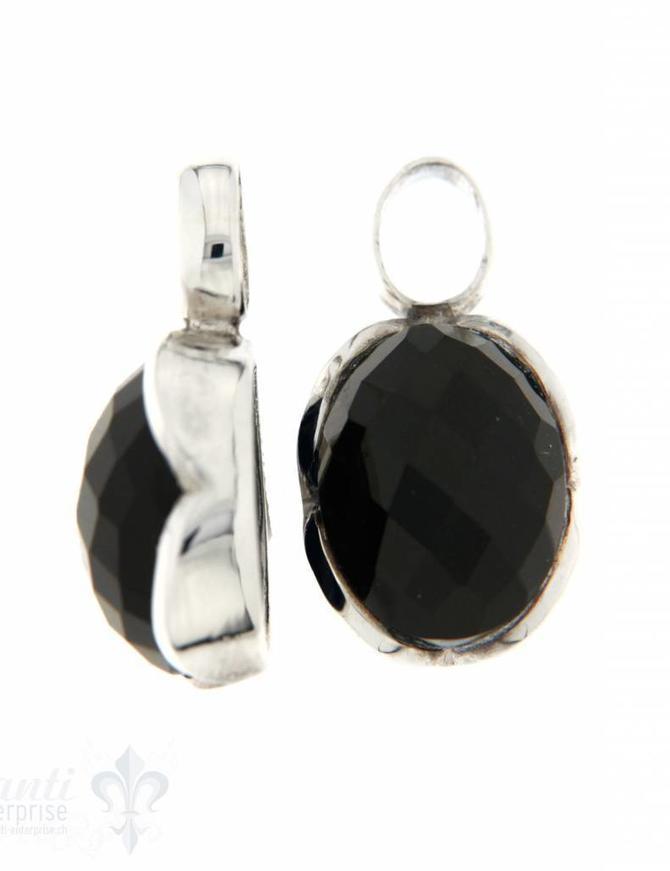 Anhänger für Creolen Spinell schwarz oval facett. Silberfassung Blumenblatt 13x16 mm