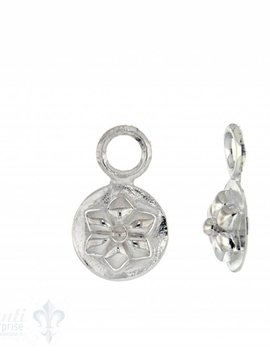 Si-Ohrhänger für Creolen:Blumenrelief auf Silber