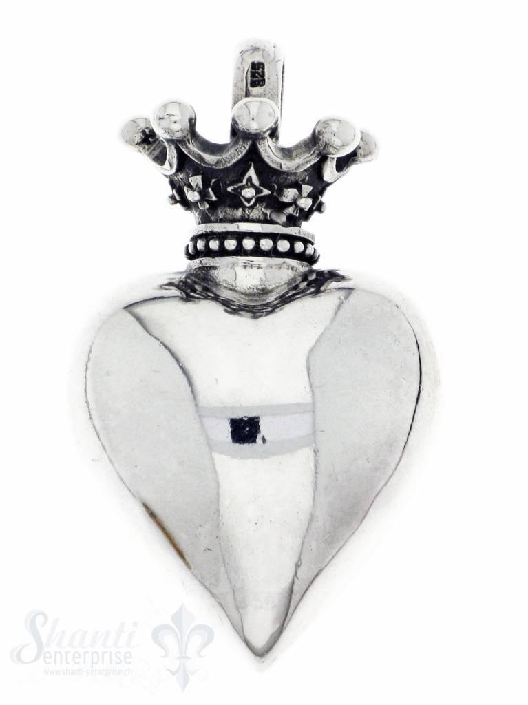 Silberherz poliert mit Krone
