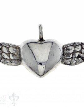 Silberherz glatt mit Flügel