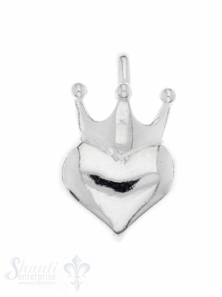 Silberherz glatt mit Krone