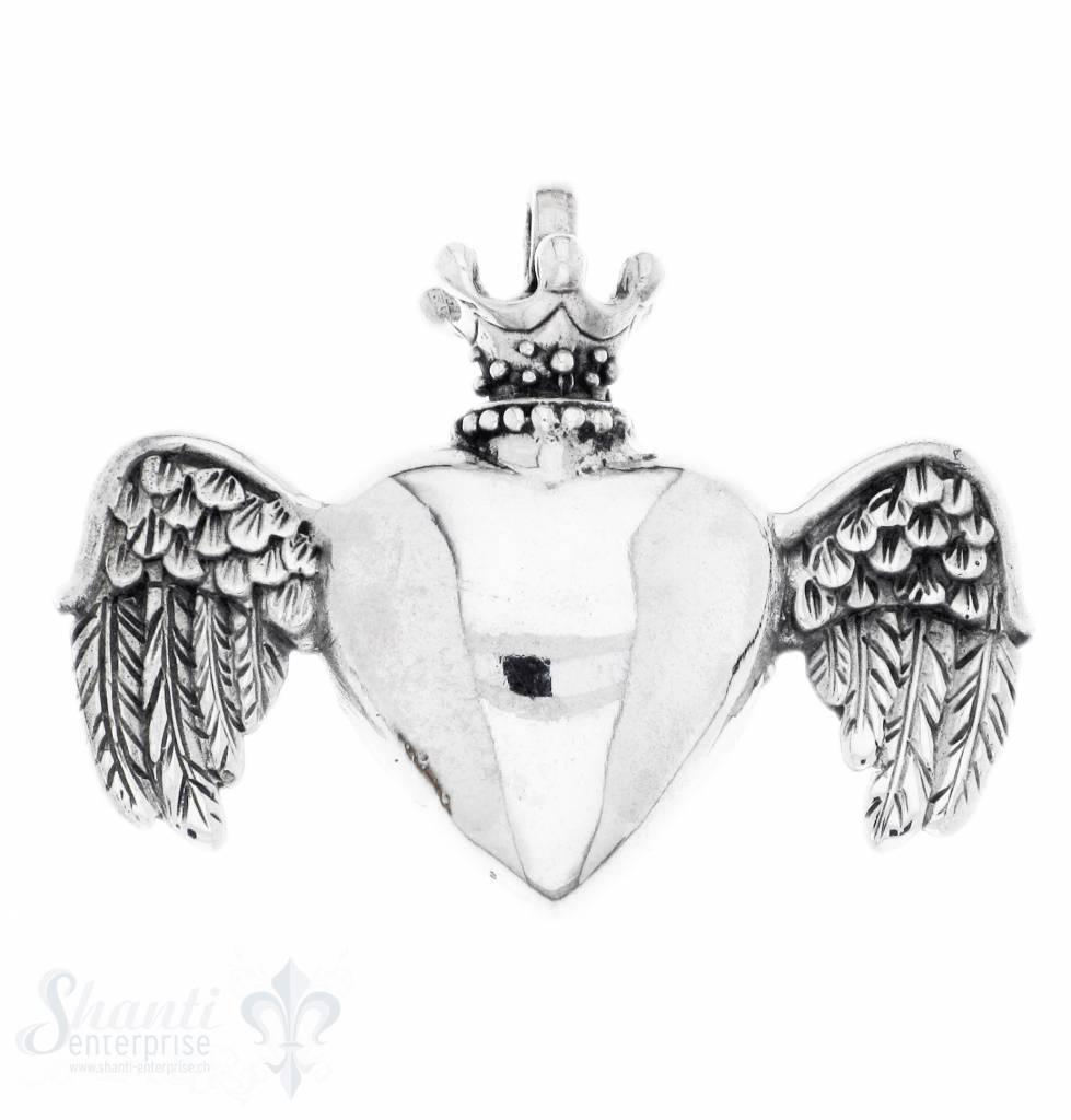 Silberherz glatt mit Krone und Flügel