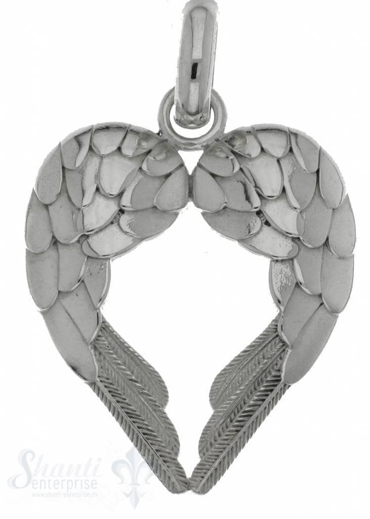 Silberherz mit zwei Flügel