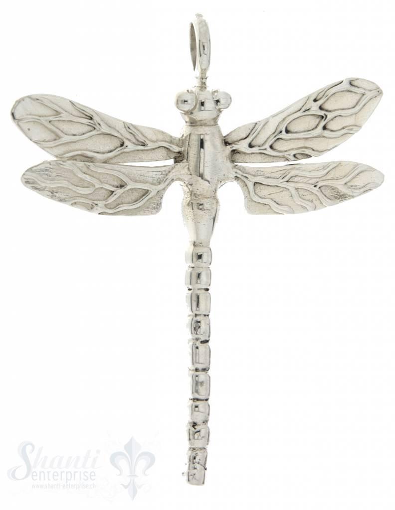 Silbertier: Libelle flach 48x49mm