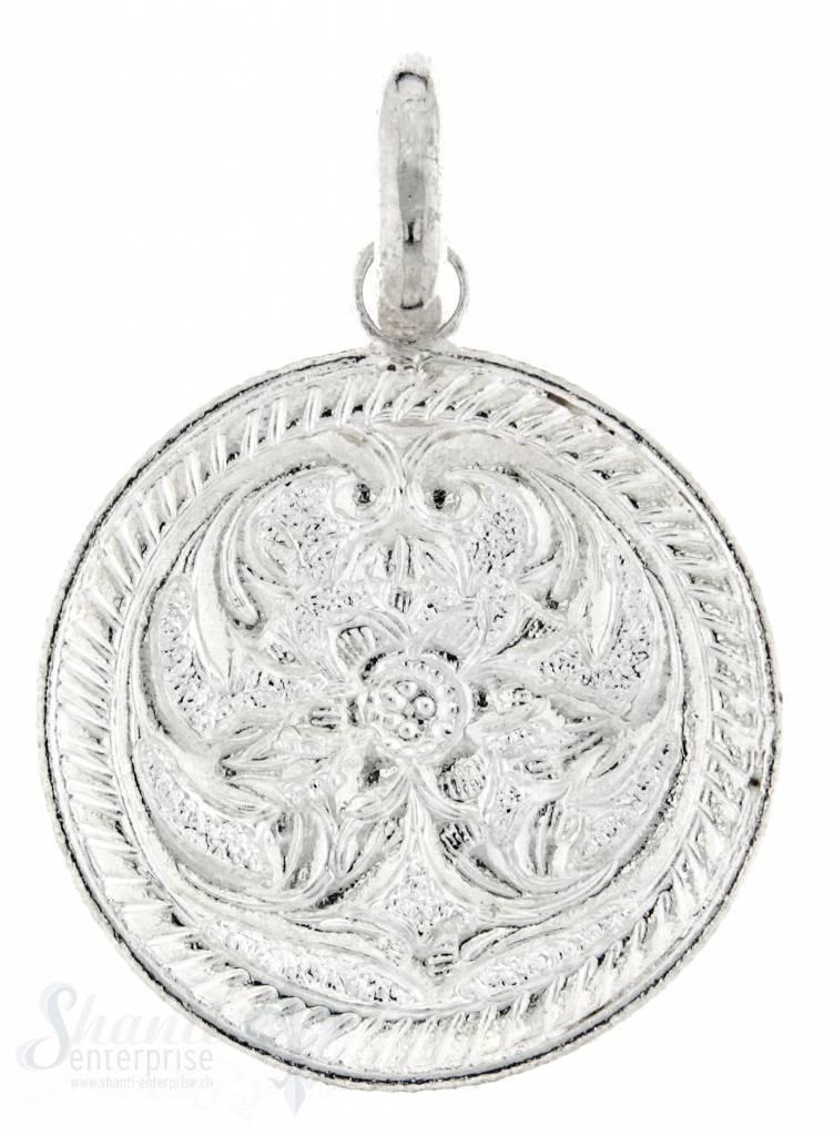 Si-Anhänger:Amulett beidseit.Muster,kl.Blume in