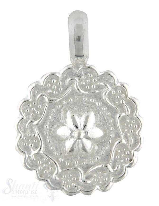 Si-Anhänger:Amulett Rand mit Blumenranken, Mitte Blume, einseitiges Muster, D: 20 mm