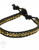 Leather Wrap Bracelet: gold cristal, 17 cm 1 x Handgelenk