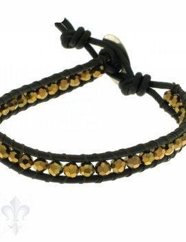 Leather Wrap Bracelet: gold cristal, 17 cm 1 x Handgelenk