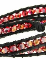 Leather Wrap Bracelet: red cristal, 50 cm 1 x Handgelenk