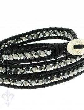 Leather Wrap Bracelet: Hämatit, 50 cm 3 x Handgelenk