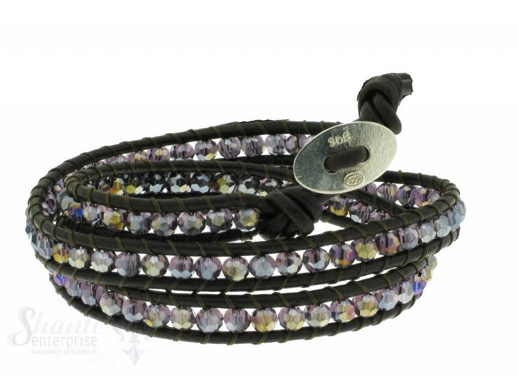 Leather Wrap Bracelet: violet cristal, 50 cm 3 x Handgelenk