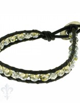 Leather Wrap Bracelet: smokey cristal, 17 cm 1 x Handgelenk