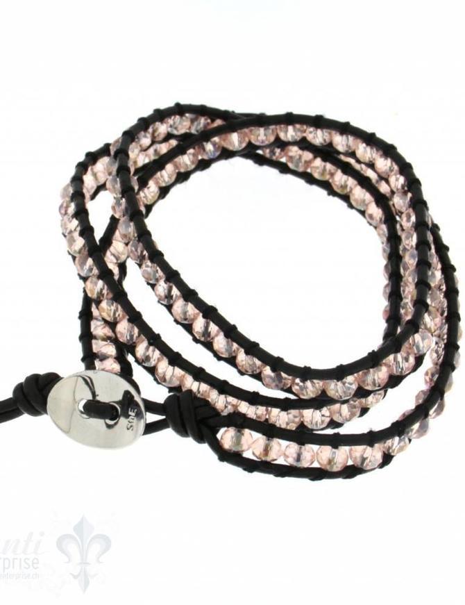 Leather Wrap Bracelet: rose crystal Buttons 50 cm 3 x Handgelenk