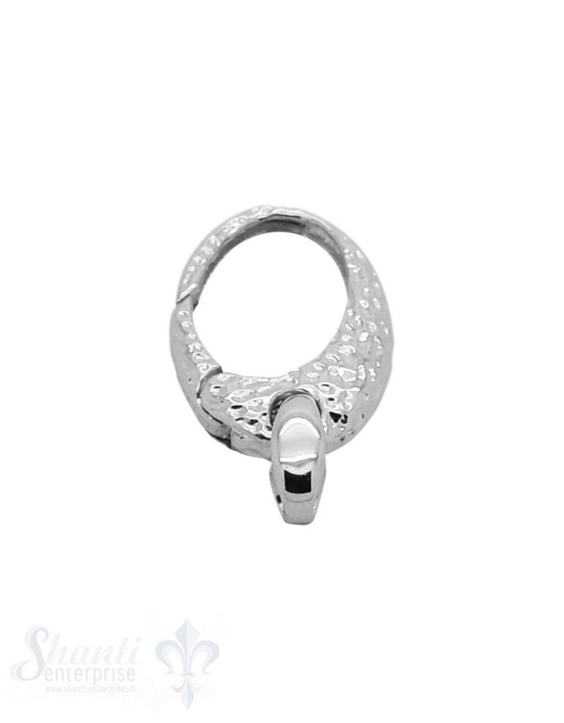 Klickschloss oval mit 1 Oese verziert halbgefüllt 16x30 mm