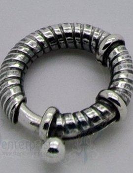 Federringschloss mit 2 Stopper D: 16,5 mm gerippt geschwärzt
